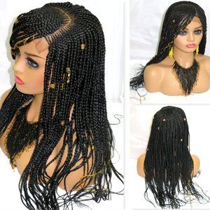 Black braided lace wig, long , cornows,  handmade